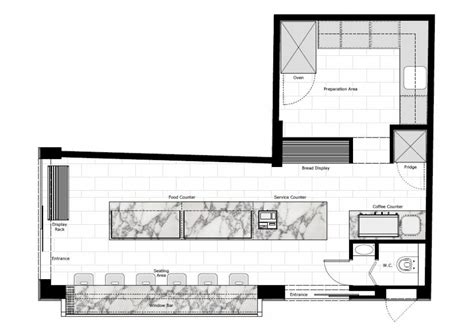 floor plan of a bakery elektra bakery shop interior by studioprototype