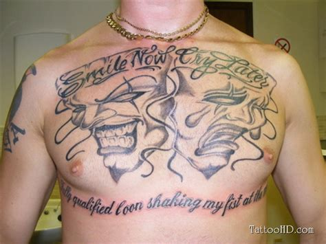 joker tattoo laugh now cry later chest tattoo images designs