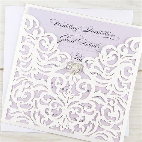 Wedding Card Stationery by Ruby Laser With Vintage Diamante Invitation Wedding