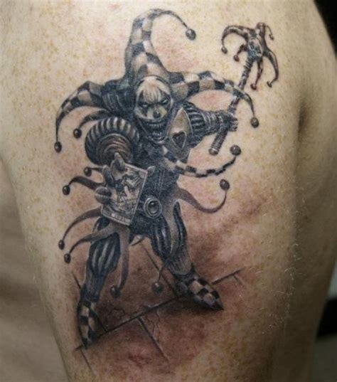 tattoo fantasy a jester gets an evil grin in this black