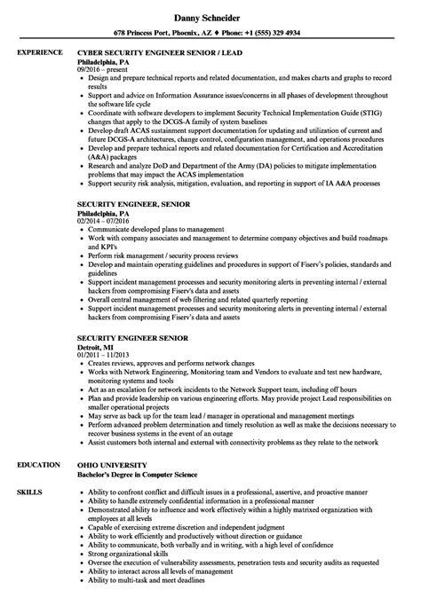 security engineer resume exle security engineer senior resume sles velvet