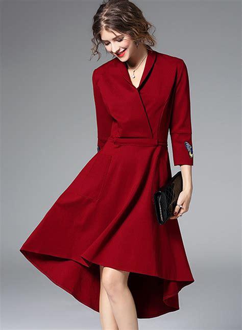 3 4 Sleeve Sleeve Dress s v neck 3 4 sleeve high low dress