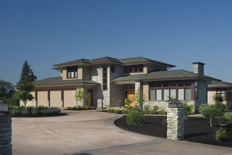roof contemporary prairie style house plans house style