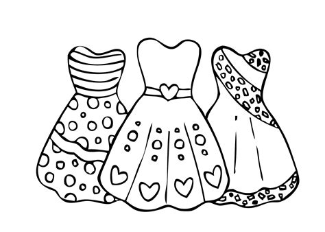 coloring page dress coloring pages bestofcoloring