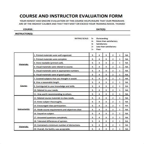 Class Evaluation Letter instructor evaluation form instructor evaluation form instructor evaluation