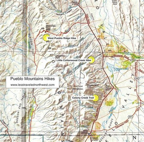 mountains oregon map day hikes in the pueblo mountains