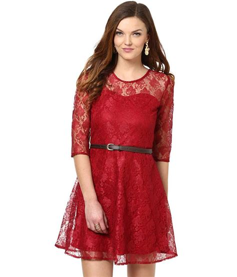 Promo New Dress Lace Maroon Buy La Zoire Maroon Lace Dresses At Best Prices In
