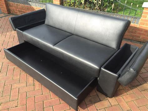 leather sofa bed with storage drawer and in arms price