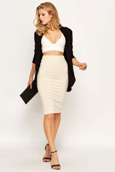 beige high waisted skirt skirt ify
