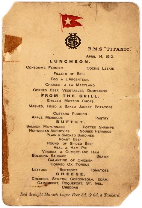titanic first class menu titanic s last lunch menu makes 88 000