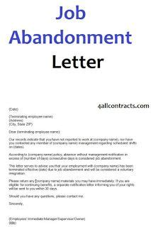 job abandonment letter sample template job job