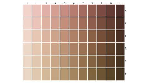 skin tone colors color chart displaying 66 skin tones