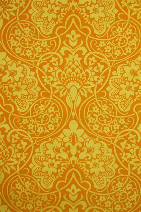 classic yellow wallpaper 1970 s vintage wallpaper orange and yellow flocked design