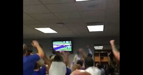 bills locker room bills locker room reacting to andy dalton s 4th td pass that clinched their playoff