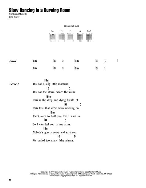 lyrics to in a burning room in a burning room sheet by mayer lyrics chords 162956