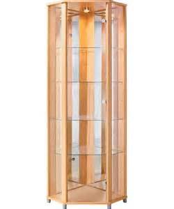 Beech Corner Display Cabinet Buy Corner Glass Display Cabinet Beech Effect At Argos