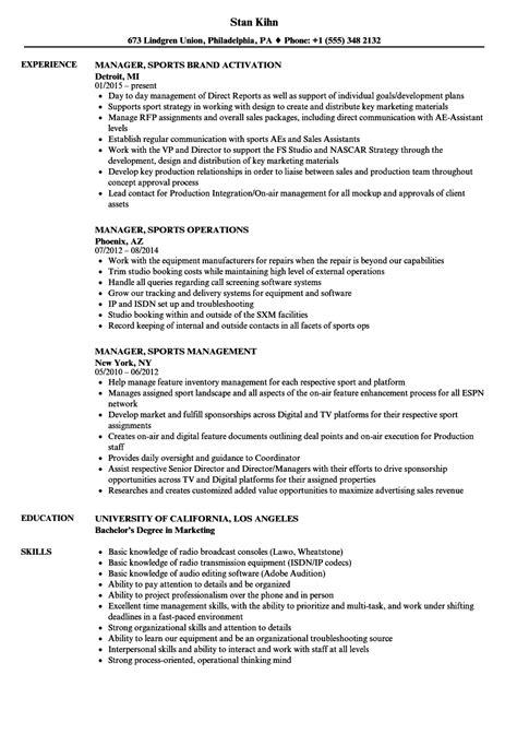 sports management resume exles manager sports resume sles velvet