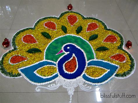 Decoration For Deepavali At Home Diwali Special Peacock Rangoli Design With Marigold
