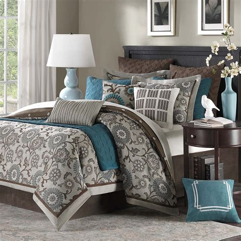 bedroom comforter set teal and brown bedding