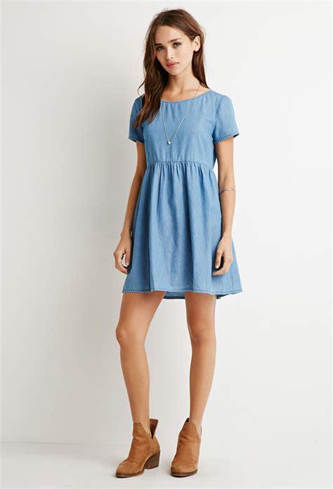 Baby Doll Denim Biru Tua lyst forever 21 chambray babydoll dress in blue