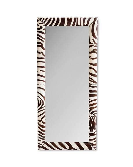 zebra hide brown and ivory floor mirror