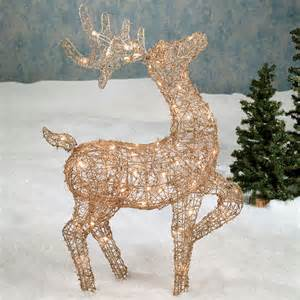 lighted gold rattan deer indoor outdoor sculpture
