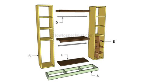 Closet Building Materials by Closet Organizer Plans Howtospecialist How To Build