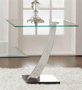 modern chrome and glass end table with a single curved
