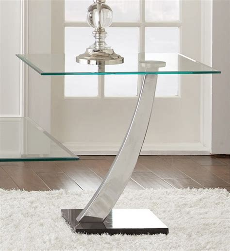 modern glass furniture modern chrome and glass end table with a single curved