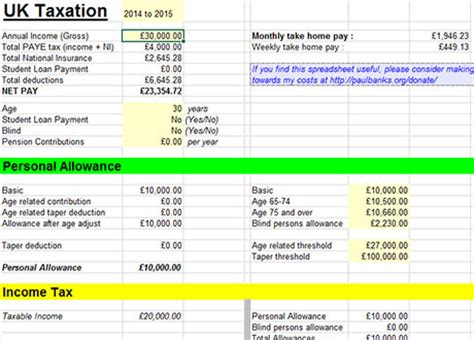 Tax Template Excel by Free Tax Calculator Excel Templates 2014 2015