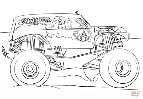 coloring pages monster trucks grave digger monster truck coloring page free printable