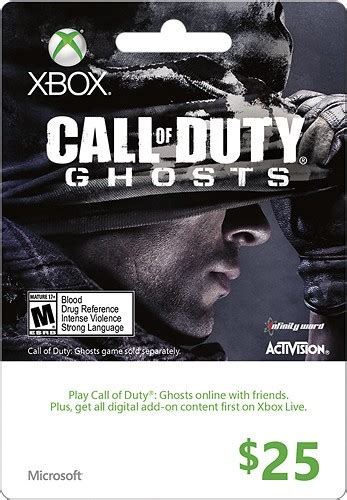 Call Of Duty Gift Card - microsoft 25 xbox gift card call of duty ghosts multi