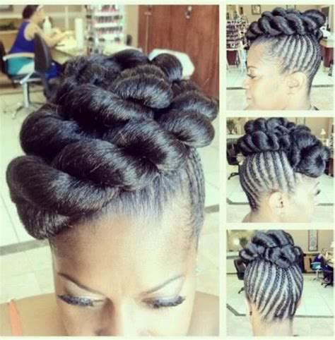 show some different inside up cornrow stytles updo cornrows with faux bun it s only natural pinterest