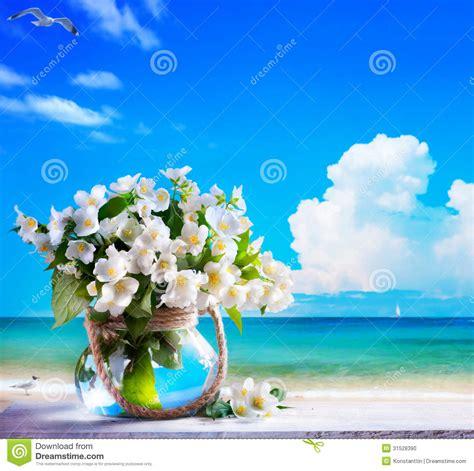 i fiori mare vista sul mare di arte e fiori gelsomino fotografia