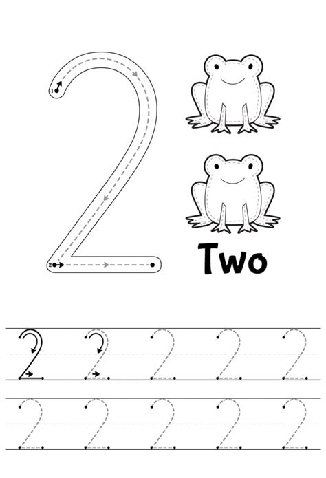 for printables number 2 tracing worksheets learning printable