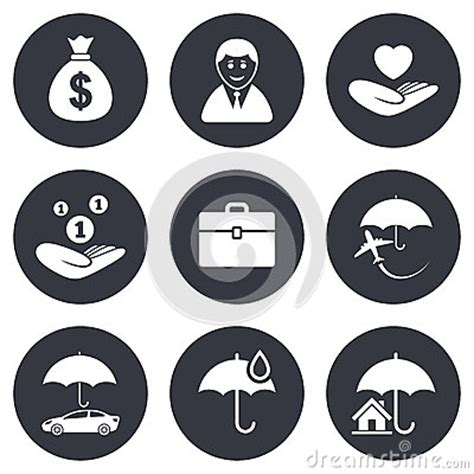 life and house insurance insurance icons life real estate and house stock vector image 61033232