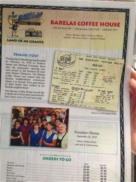 barelas coffee house back of menu picture of barelas coffee house albuquerque tripadvisor