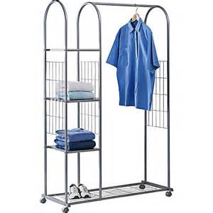 clothes rail with shelves and shoe rack silver