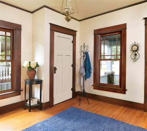 wood windows with white trim white interior doors with oak trim photo