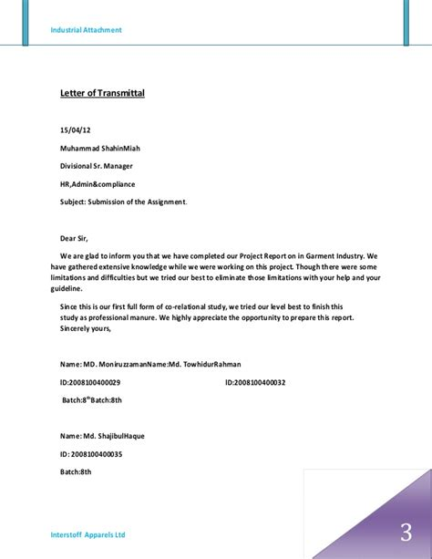 Transmittal Letter With Attachments Industrial Attachment Of Interstoff Apparels Ltd