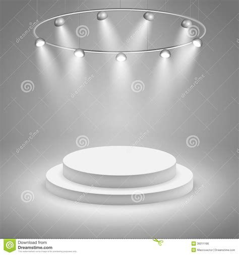 white stage  spotlight stock vector illustration