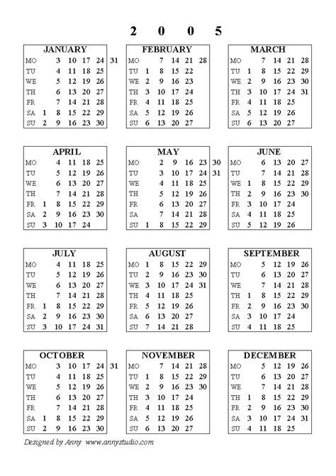 Calendar For 2005 Pin Kalender 2005 On