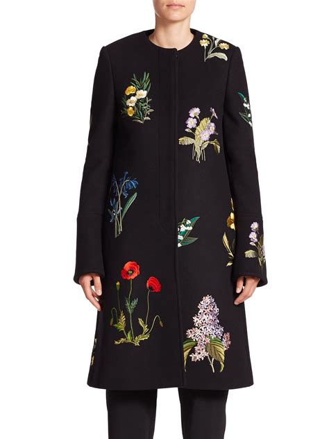 Flower Embroidered Woolen Coat Black White Size Ml stella mccartney embroidered wool blend coat in black lyst