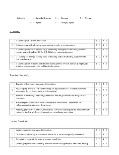 Training And Development Questionnaire 1 E Learning Questionnaire Template
