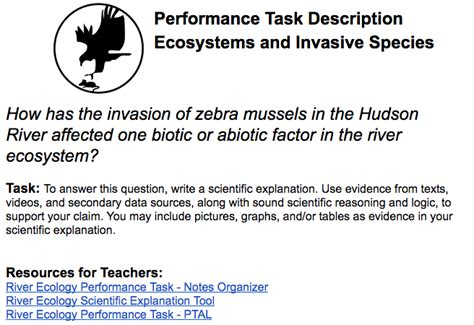 An Explanation For Hudsons Mistake by Hudson River Ecology Performance Task New Visions Science