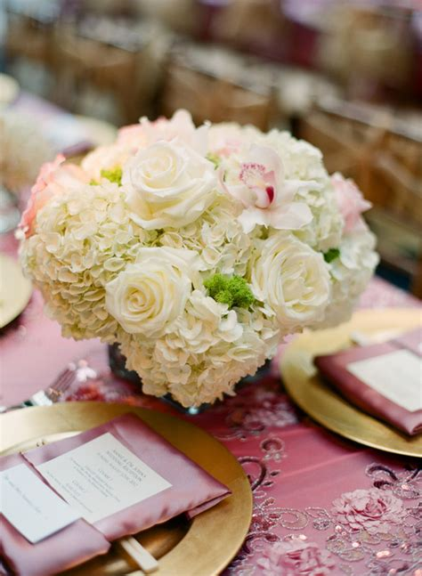 cream rose and hydrangea centerpiece elizabeth anne