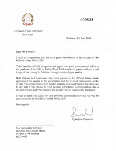 Letter Of Introduction Italian Embassy Alessandro Sorbello June 2009