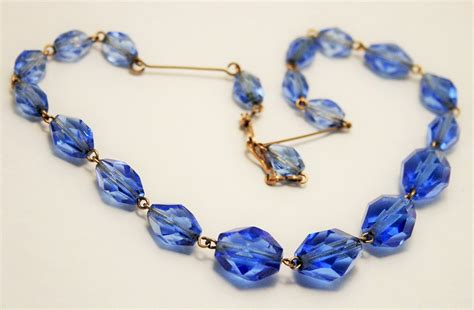 vintage glass bead necklace vintage blue glass bead necklace wired by chicvintageboutique