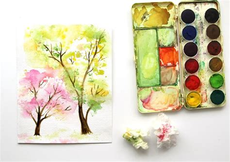spring paint spring trees watercolor painting with crumbled paper
