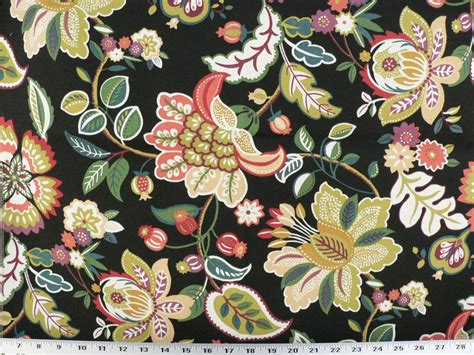 jacobean upholstery fabric drapery upholstery fabric indoor outdoor jacobean floral black multi ebay